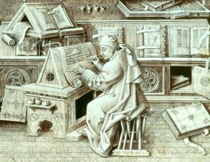 European scribe at work, by Jean Le Tavernier – Almofate's Pinterest «Books, a Long Way» board cover