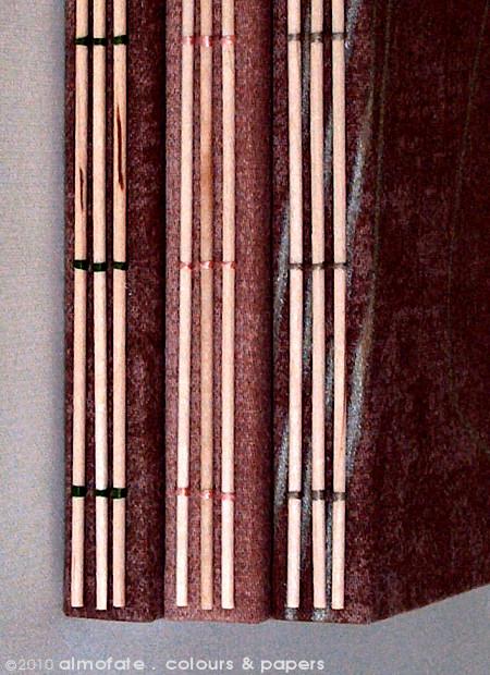 @ Almofate - Notebooks, spines detail _ BAMBUSOIDE _ Diários, pormenor das lombadas