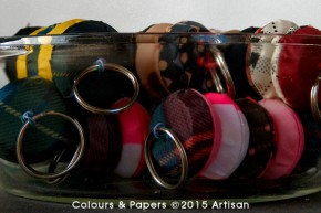 Colours & Papers - Umbrella fabrics key rings in a bowl